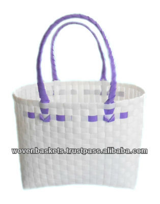 Cheap Woven Baskets Shopping weaving Bag (ATS-F06)with White or Colorful made from Plastic Straps Polypropylene pp