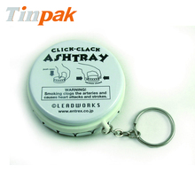 click clack ashtray tin box with key ring for easy carrying