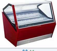 Curved glass ice cream freezer / commercial freezer for gelato