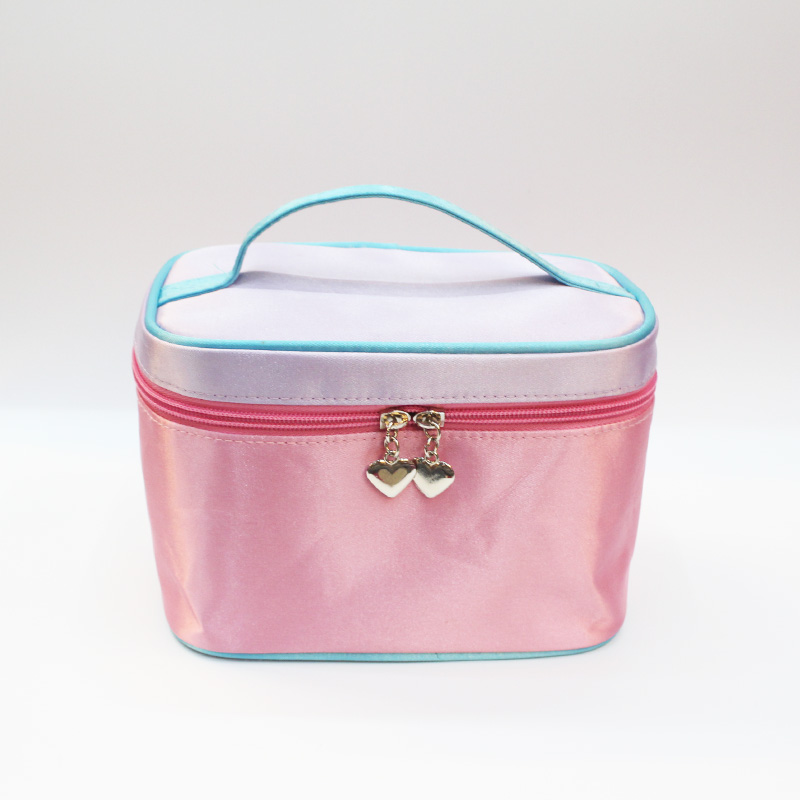 Mercerizing leather pink travel cosmetic bag cosmetic case with lover zipper