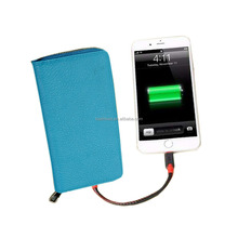 RFID Intelligent Wallet Big Capacity Power Bank Blue-tooth Tracking Map 3 in 1 USB Charging Port 100% Cowhide Real Leather