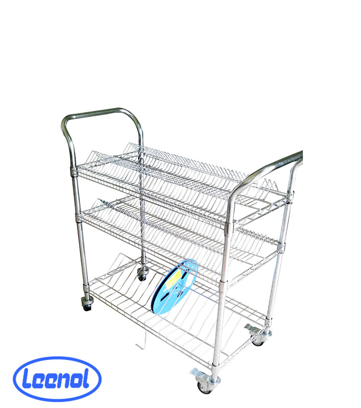 LN-1530609 Industrial ESD Wire Shelving Cart Storage Trolley And Shelf
