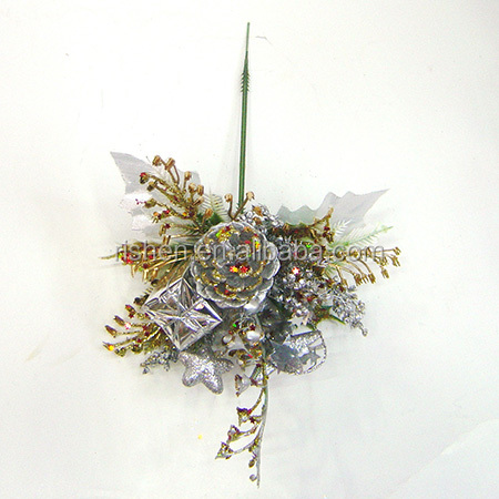 Decorative Artificial Christmas Flowers Floral Silver Glittered Berry Picks