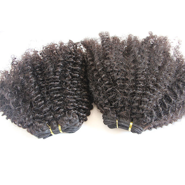 YuXi wholesale 4B-4C/3B- 3C/3C-4A raw vrigin malaysian afro kinky curl sew in hair weave with12/14/16/18/20inch On Stock