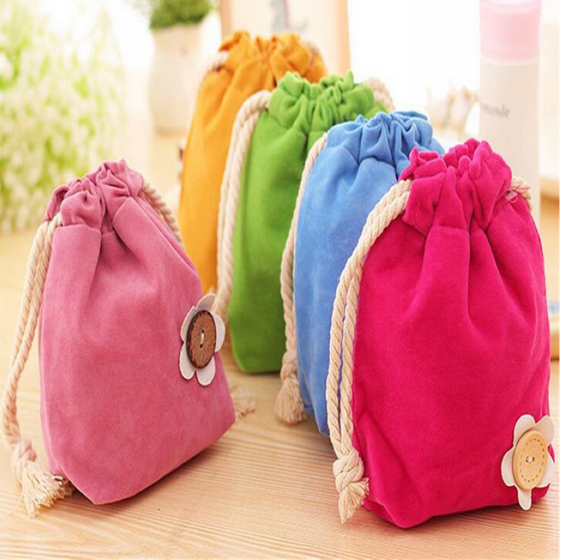 Beauty cute flower drawstring bag for cosmetics