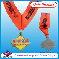 Custom antique silver medals with ribbon drape midison marathon medal ribbon no minimum order