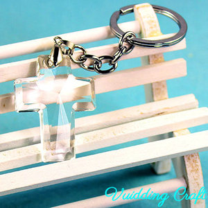 Cross Shape Personalized Crystal Keychain For Christian Gift