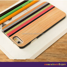 Wholesale alibaba supplier wallet all in one PU leather mobile case PU+Wood phone case for Iphone 6