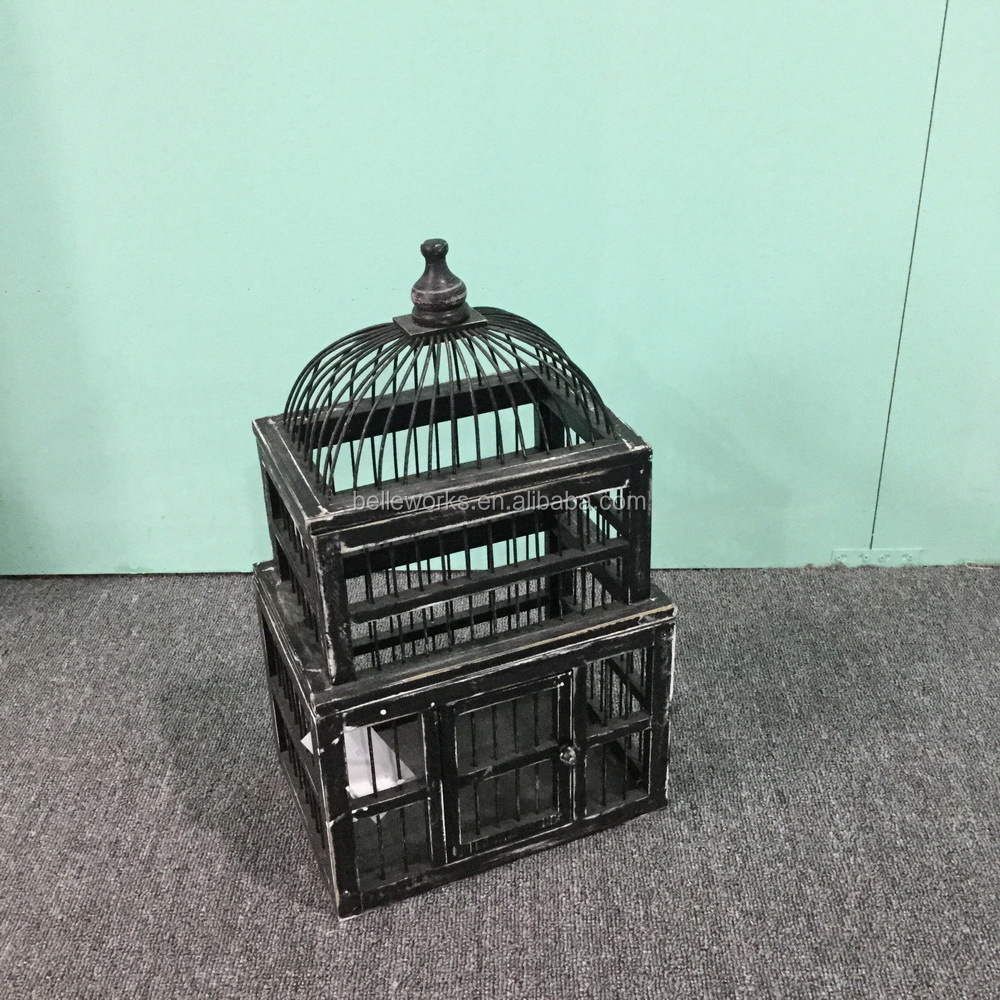 2016 new design white washed wood hanging bamboo bird cages