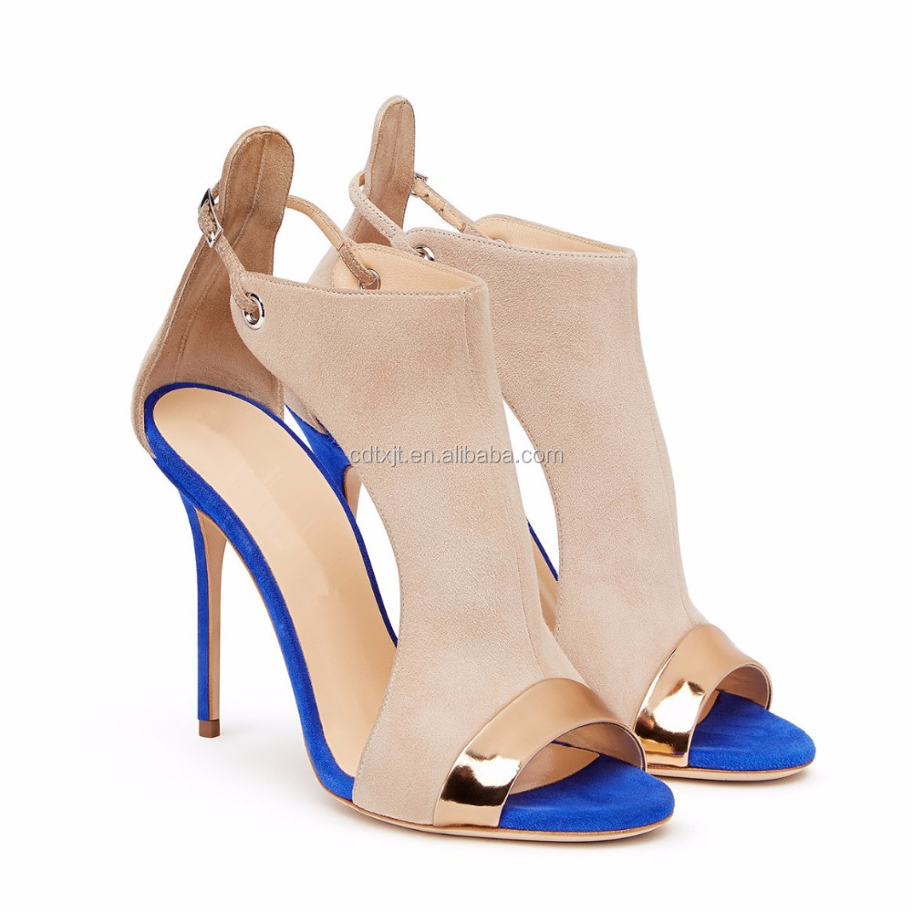 wholesale fashion peep toe buckle strap shoes women high heels sandals