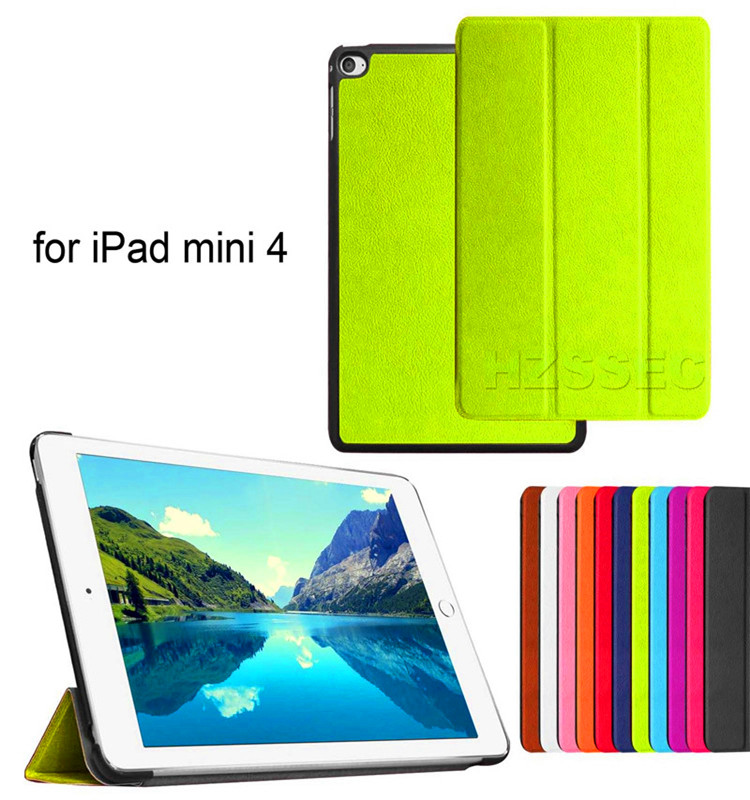 High quality 3 folding leather cover stand flip case tablet case for ipad mini 4