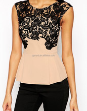 Fashon sleeveless western blouses patch work in blouse neck designs