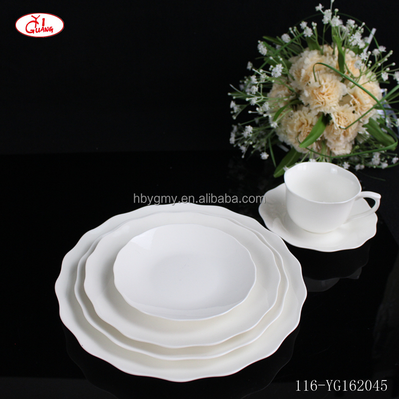 Lotus plain white Portuguese ceramic dinnerware