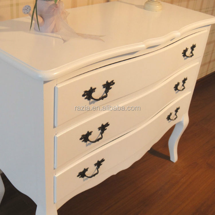 Mahogany Chest of Drawers - French Living Room Cabinet - White Furniture