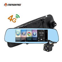 "Free shipping 4G/3G Car DVR Mirror 7"" Android 5.1 GPS Dash cam Video Recorder Rear view mirror DVR and Camera Registrar 16GB"
