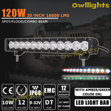High quality Flood and Spot Beam Waterproof 20inch 120w Car LED Light Bar 4x4 LED Driving Lights Bar with Amber or Green DRL