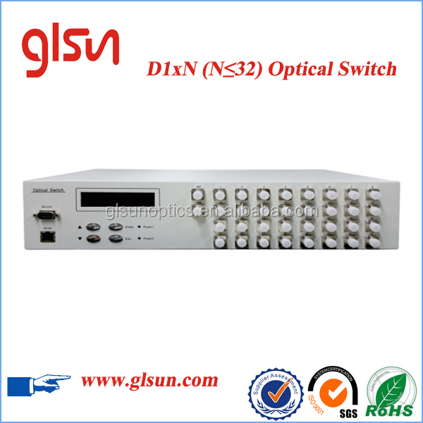 Fast Switching GLSUN D1*32 D1xN Rack mount Multi-channel Fiber Optical Switch for Optical Network Remote Monitoring
