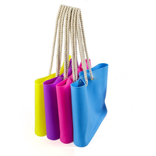 Promotional Waterproof Silicone Beach Bag Silicone Rubber Tote Bag Silicone Candy Color Shoulder Bag