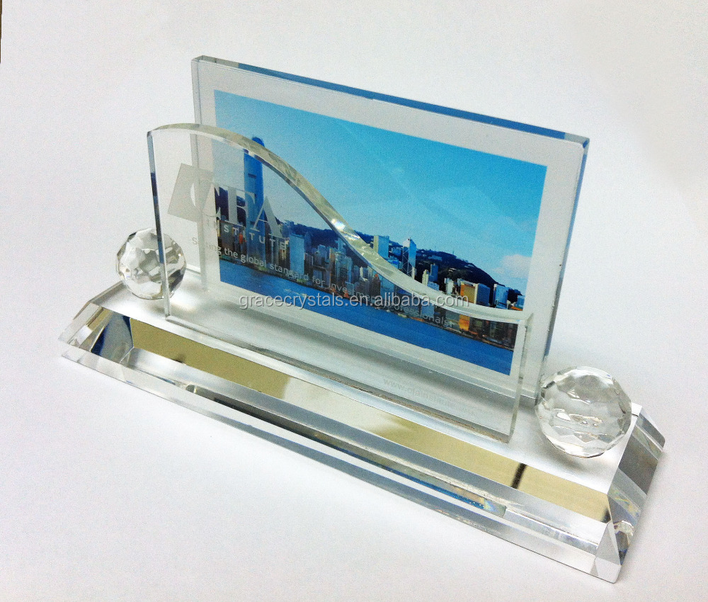 Promotional corporate gifts clear crystal office name card holder