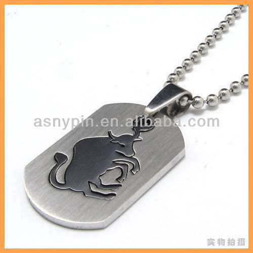 Horoscope Stainless Steel Silver Tone Taurus Zodiac Men Pendant Necklace