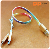 mobile phone accessories 2 in 1 universal zipper usb cable for iphone 6s 16gb