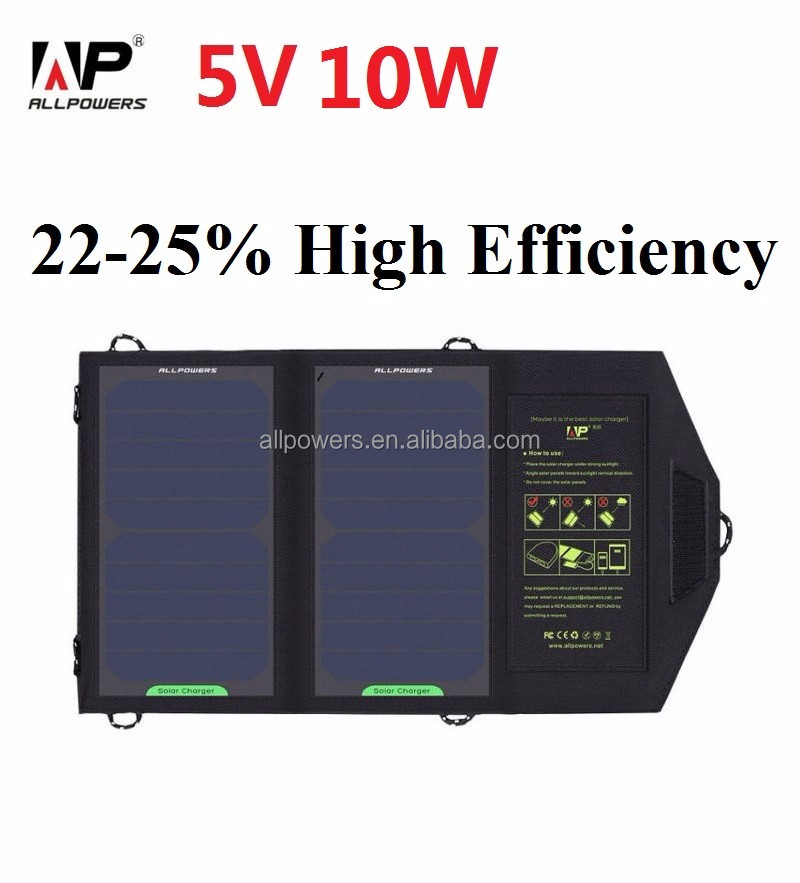 Mobile solar power 10w portable phone charger Sunpower folding solar panel 5v usb solar phone charger for hiking/camping