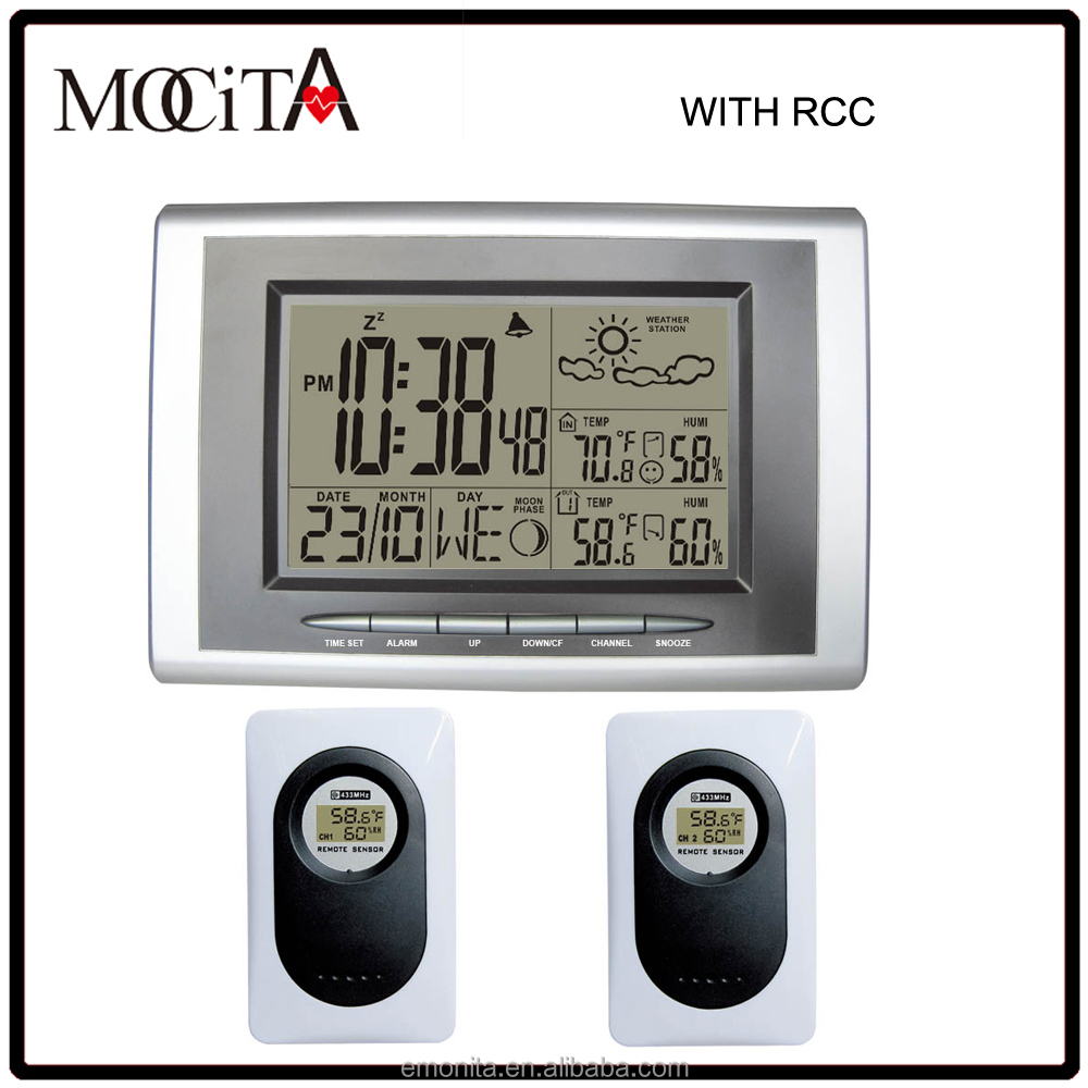 Digital wireless rf RCC weather station table clock with 2 sensors for weather forecast