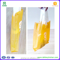 yellow free samples accept custom order bio degradable handle waterproof plastic bag for shopping mall