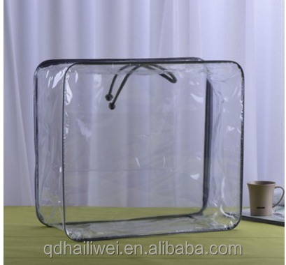 clear PVC transparent packaging bag for home textile blanket steel wire with zipper