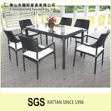 rattan dining set armrest chair square dining table for hotel restaurant used
