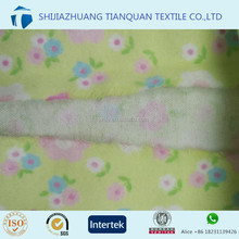 light green flower design 150gsm cotton twill weave brushed flannel printed fabric for pajamas