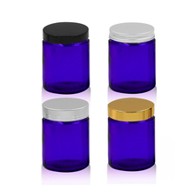Cobalt Blue 1oz, 2oz and 4oz Glass Cosmetic Straight Sided Jar,Lids Included; Empty Refillable container for packaging Cosmetic