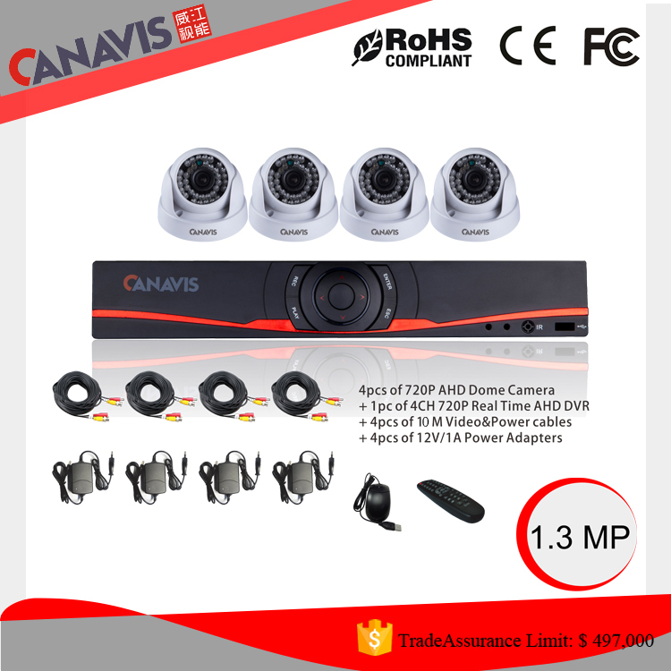 Automotive 1.0Megapixel High Quality Outdoor bullet Surveillance 4ch AHD kit