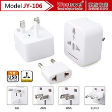Wontravel mobile phone accessories universal travel adaptor, wholesale adapter plug, portable dual USB charger plug