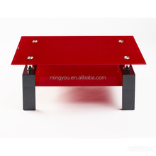 2016 irregular square glass colorful coffee table