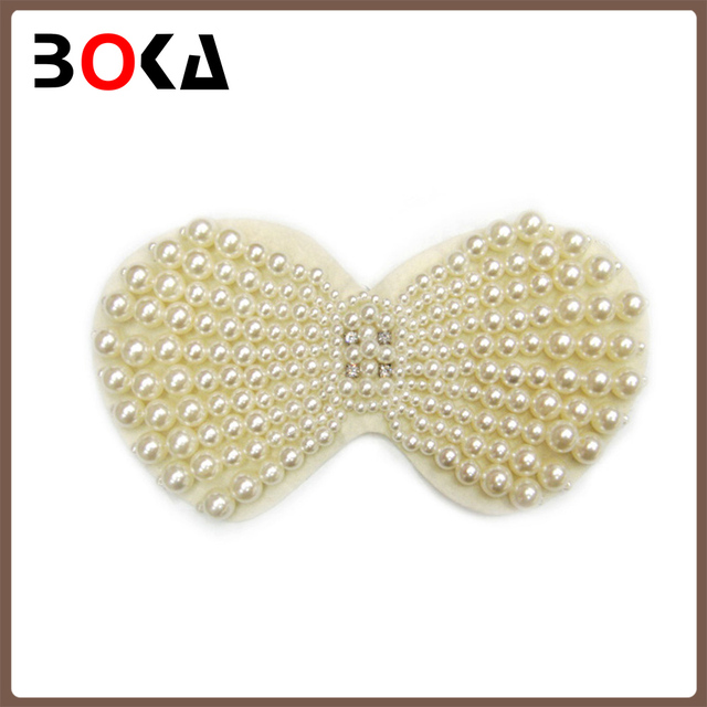 // Fashion bowknot shape pearl beads applique // pearls appliques for clothes, bags shoes decoration //