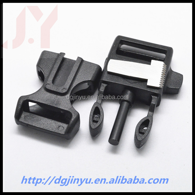 Jinyu $0.32 fire starter whistle buckle for paracord