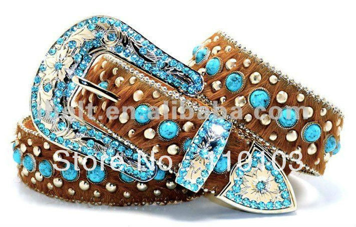Hair On Western LEATHER Belt BLING Rhinestone Women belt