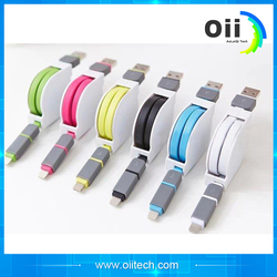2 in 1 Retractable Micro usb + 8pin USB Sync Data Charger Cable for iPhone 5s 6 plus ipad 4 5 For Samsung S4 S5 S6 for Android
