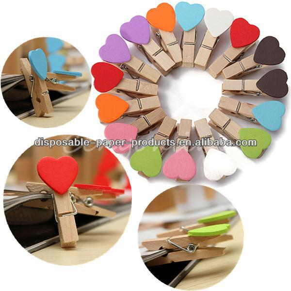 Mini Heart Wooden Wood Pegs Clips Photo Note Memo Holder Card Craft Favor