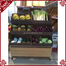 China supplier direct sale supermarket fruit and vegetable display rack with rattan basket