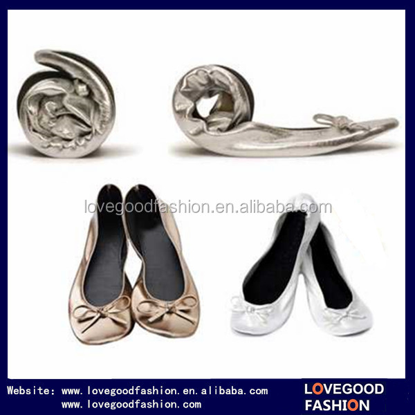 Promotion Ladies Casual Folding Ballet Shoes with Matching Bag for Wedding