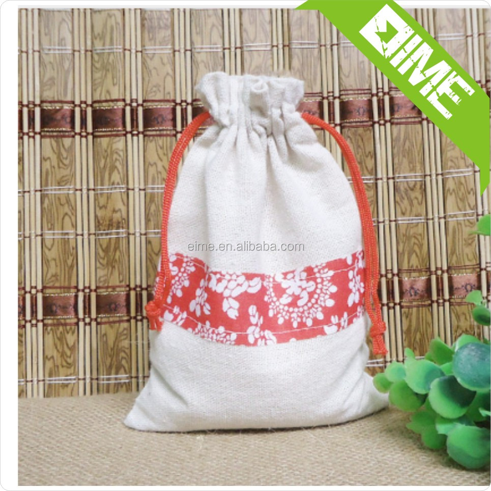Red Logo And String Cotton Pouch Bag