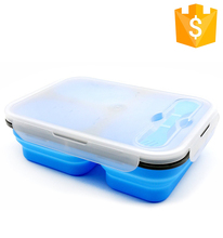 Promotional 100% Food Grade Leakproof Lunch Box Folding Silicone Food Container