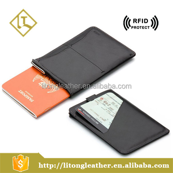 Customized Personalized cow leather travel passport wallet with card slot