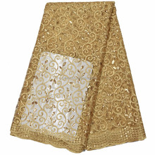 Gold African fashion design velvet lace fabric for wedding LC282-2
