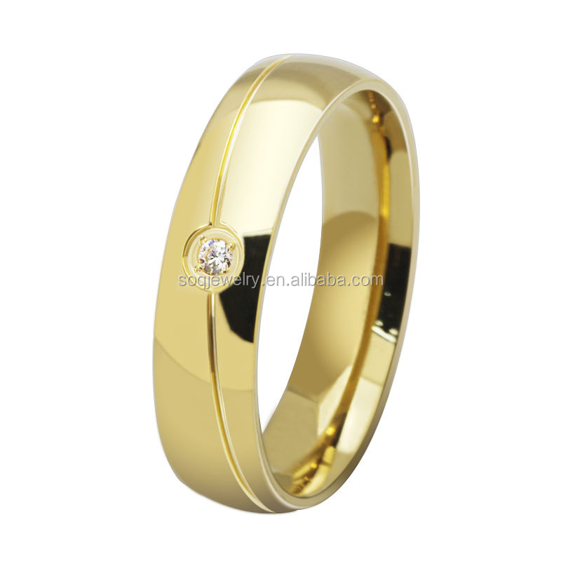 Luxury 18K Gold Female Stainless Steel Clear Gemestone Wedding Rings Jewelry