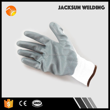 Logo customized white nylon liner smooth nitrile oil resistant gloves