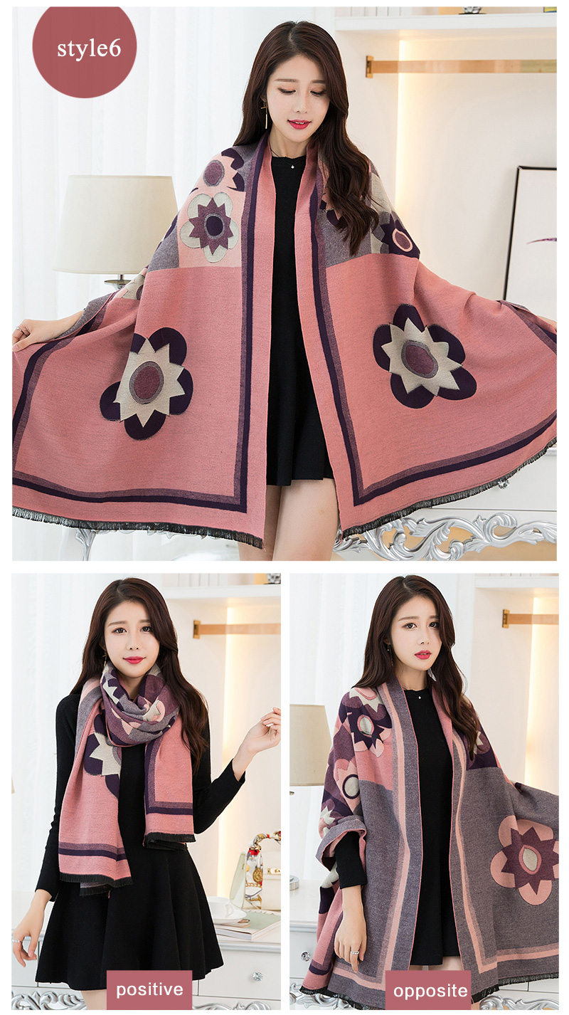 Winter fashion ladies ponchos and capes Flower wool felt scarf shawl wraps double-faced wool pashmina stoles scarf