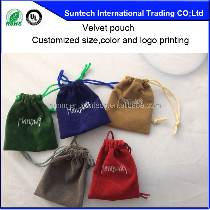 wholesale fashion white drawstring jewelry velvet pouch with custom logo printed
